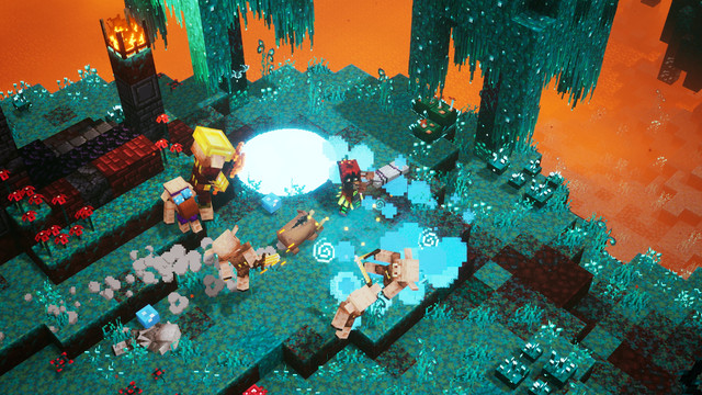 Voxel characters run around a garden floating over lava.