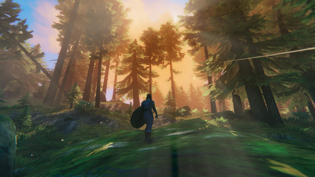 Valheim - a viking stands in the Black Forest, watching the sun rise and filter through pine trees.