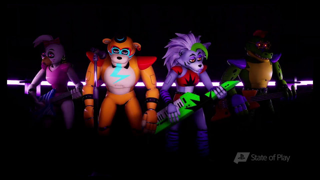 four furry suit characters in Five Nights at Freddy's: Security Breach