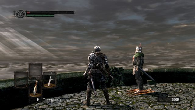 The player character in Dark Souls stands next to Solaire