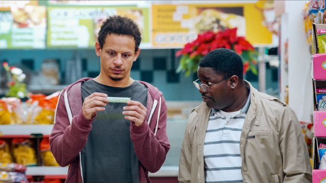 Eric Andre and Lil Rey Howery check the drugs they just took at a grocery store in Bad Trip