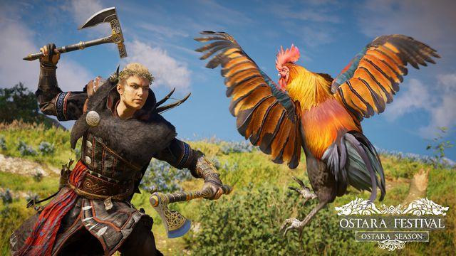 Eivor attacking a chicken