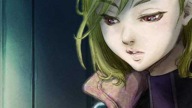 A close-up shot of a blond female character in Gnosia