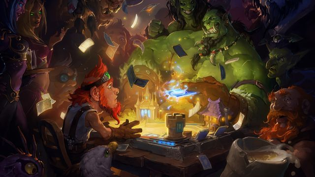 Hearthstone - the game's original 2014 key art, showing a tiny, startled gnome with goggles and red hair playing cards against a muscly, burly orc.