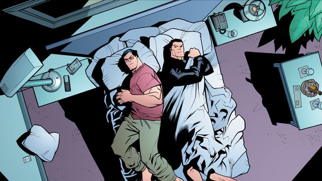 Clark Kent and Bruce Wayne grumpily share a single bed in a cruise ship room. Clark wears lounge pants and a tee shirt, Bruce has a leather jacket on an is hogging the covers, in Superman/Batman Annual #1, DC Comics (2006).