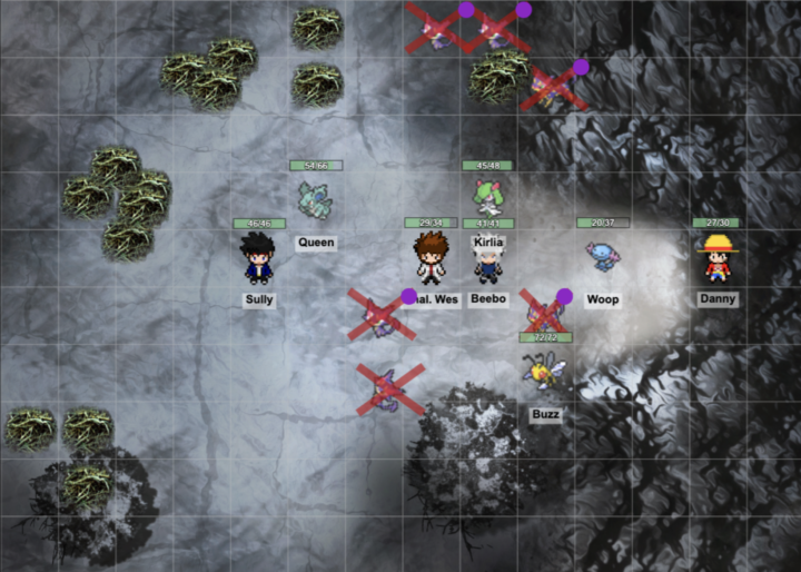 A screenshot of a Pokemon 5e battle from our Roll20 game.