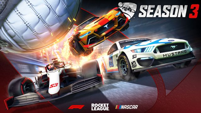 promotional card for Rocket League Season 3, showing a Formula 1 car, a NASCAR Mustang, and Rocket League's new Tyranno