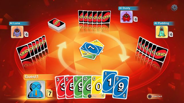 An image of a virtual game of Uno. You can see one hand and the blue number one card is selected.