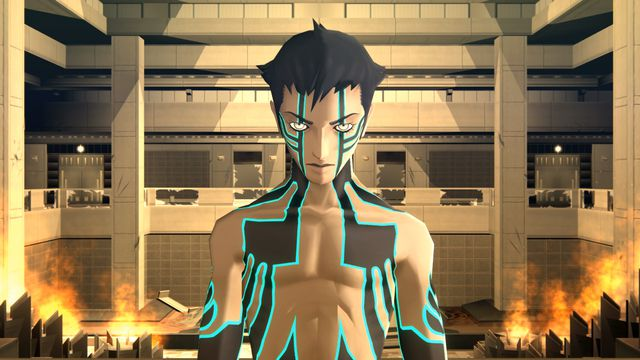 Demi-Fiend standing inside a flaming building in Shin Megami Tensei 3 Nocturne HD Remaster