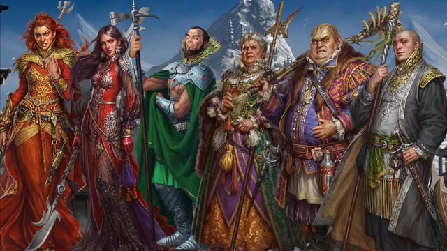 Six Runelords pose for a team picture before a snowy mountain. They look a bit perturbed.