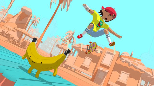 a cute cartoony boy jumping in the air doing a skateboard trick over a giant banana dude