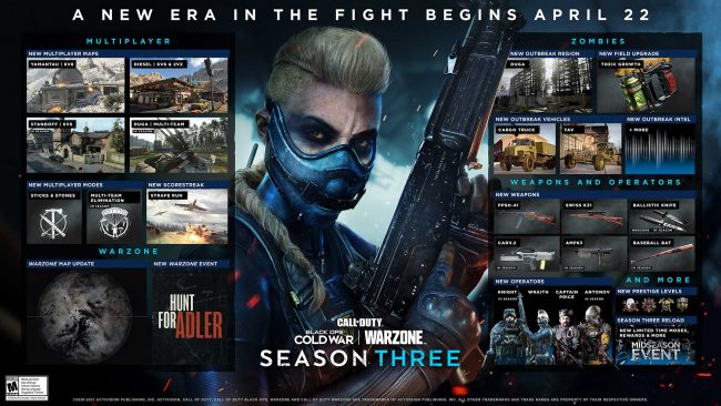 Call of duty black ops cold war warzone season three roadmap calendar