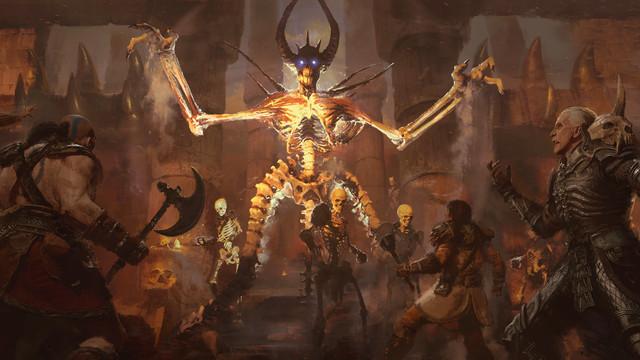 A flaming skeleton towers over adventurers in Diablo 2: Resurrected