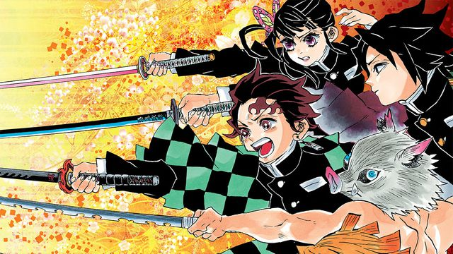 A beautiful drawing of the four main character of Demon Slayer running into battle, swords blazing