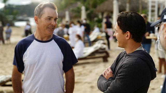 nolan north and tom holland on the beach on the set of Uncharted