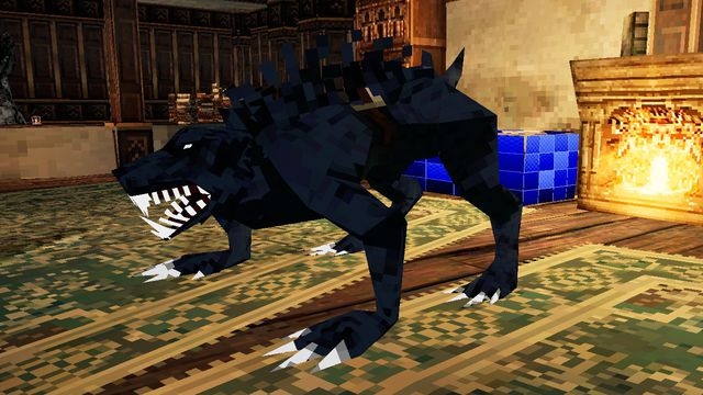 Bloodborne PSX - a fanged wolf-like beast, depicted in PlayStation-era graphics, stands in the middle of a room.