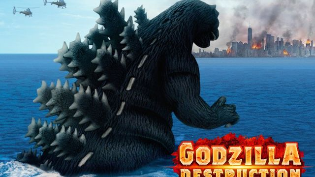 Key art for Godzilla Destruction, showing a large Godzilla approaching a city that's already aflame, while helicopters flank him from a distance.