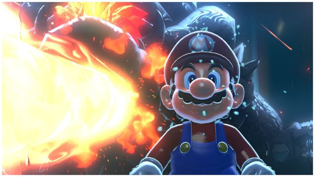 Mario is about to be murdered by a giant Bowser in Bowser's Fury.