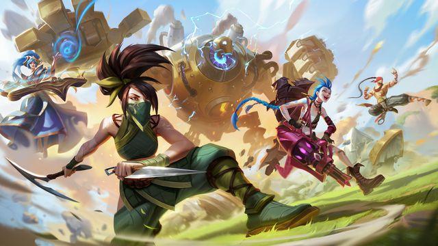 Several League of Legends: Wild Rift champions like Akali, Jinx, Blitzcrank, and Lee Sin rush into battle