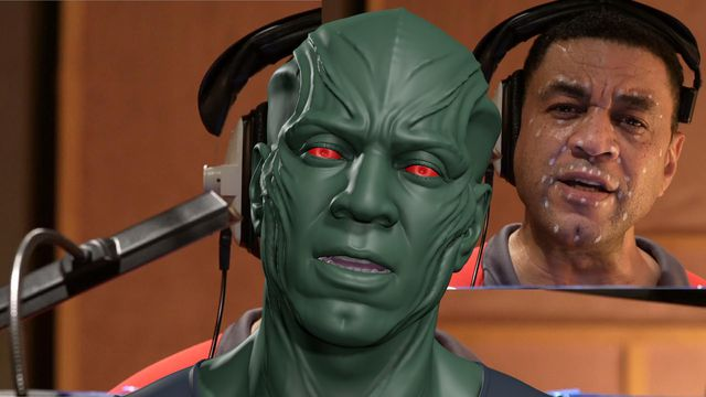 Actor Harry Lennix provides performance capture or Martian Manhunter