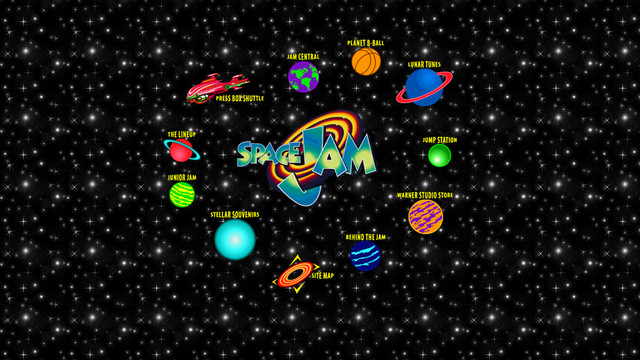 The original Space Jam website from 1996, which shows a collection of garish icons in a circle on a black background with white stars