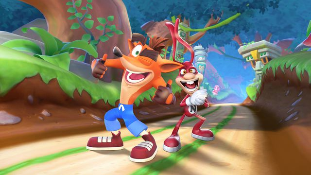 Crash Bandicoot and the Noid mugging for the camera inside Crash's mobile game
