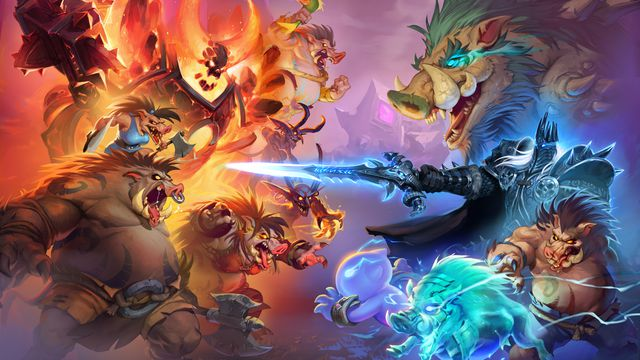 Hearthstone patch 20.2 key art, showing a cast of characters from Warcraf tbattling alongside angry boar-men known as Quilboars.