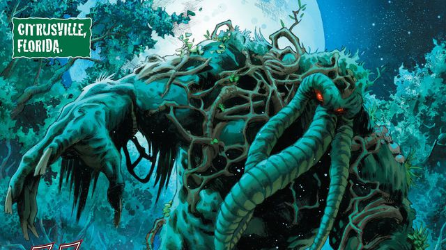 The cursed swamp creature Man-Thing rises from the waters of Citrusville, Florida in Avengers: Curse of the Man-Thing #1, Marvel Comics (2021).