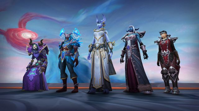 World of Warcraft - four players pose for the camera, all wearing cosmetic options to represent the five major factions of the Shadowlands so far.