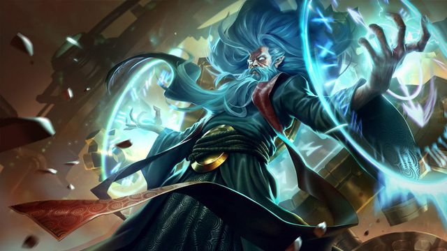 League of Legends - the splash art for Zilean, showing an old man with long hair and brows, with a giant time device on his back.