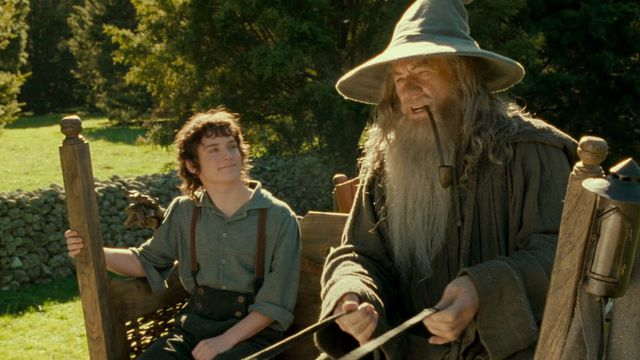 Frodo smiles like a goof while looking up at Gandalf who is steering the cart and smoking weed in Lord of the Rings: Fellowship of the Rings