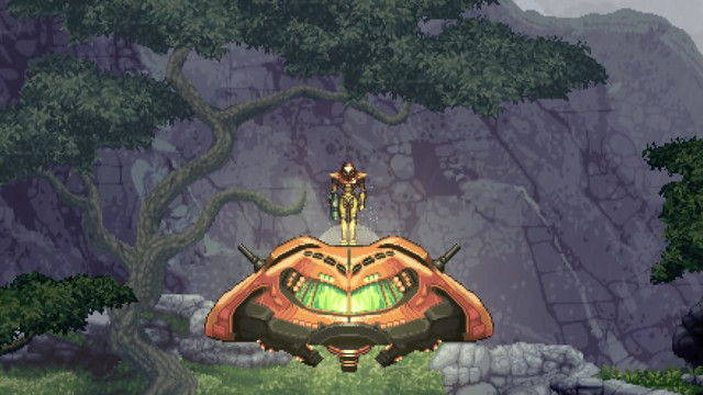 A pixelated image of Metroid standing above her alien space ship. The ship is landing and Samus is standing on top of it.