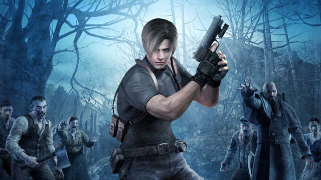 Artwork from Resident Evil 4 featuring Leon surrounded by villagers