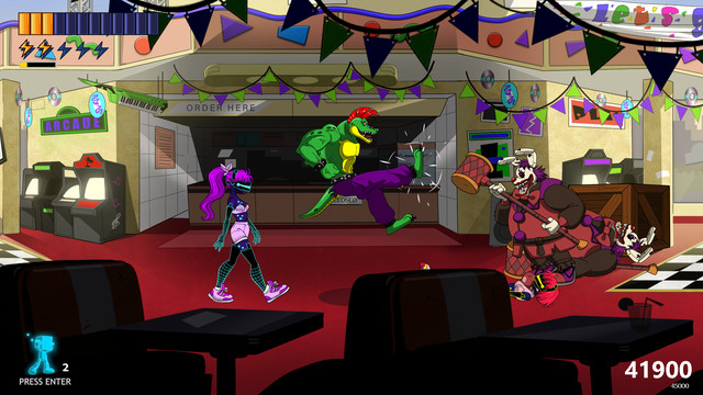 A colorful, cartoon-style side-scroller shows a an anthopomorphic alligator kicking a clown in the face