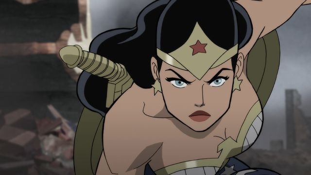 Wonder Woman glares at the camera in the WWII era in Justice Society: World War II.