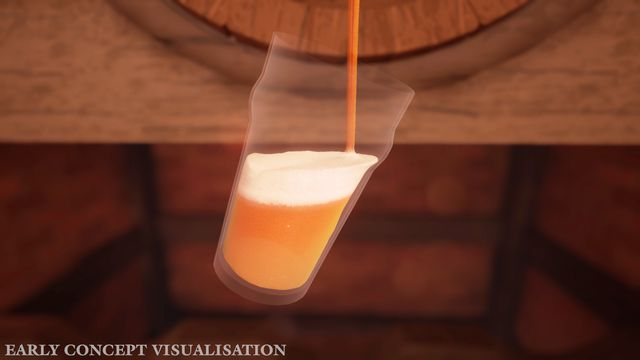 Brewmaster - a player pours a glass of beer into a tall glass