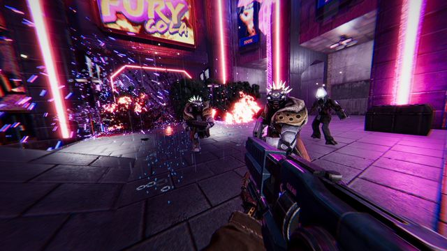 A screenshot from Turbo Overkill where the player is shooting cyber criminals amid purple neon lighting