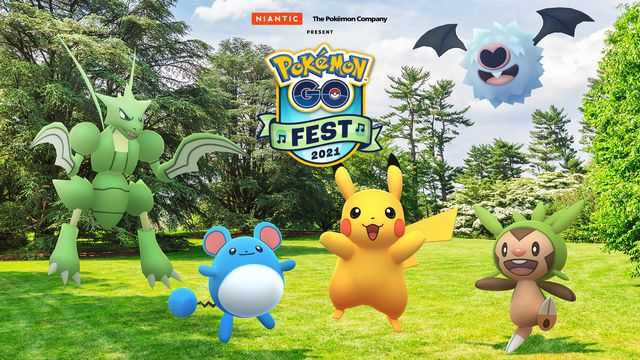 Five excited Pokémon celebrate the announcement of Pokemon Go Fest 2021