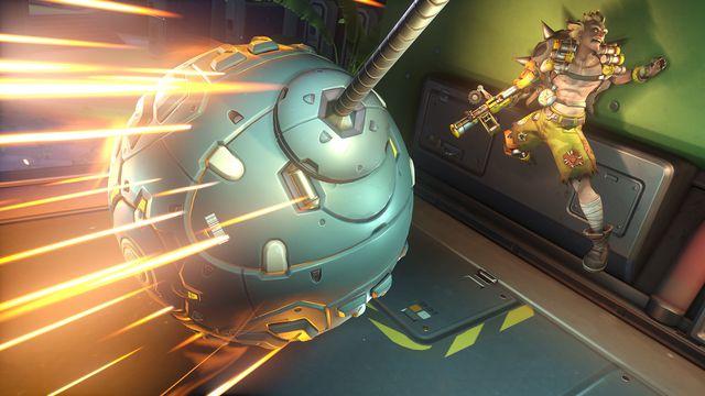 Wrecking Ball attacks Junkrat in ball form in a screenshot from Overwatch