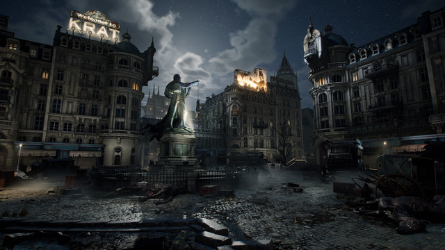 a dark and looming plaza of an abandoned European city