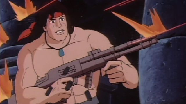 """utterly ridiculous screenshot of the 1986 UHF afternoon cartoon """"Rambo: The Force of Freedom"""" by Ruby-Spears Enterprises"""