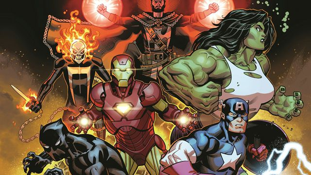 Doctor Strange, Ghost Rider, She-Hulk, Iron Man, Black Panther, and Captain America on the cover of Avengers #1, Marvel Comics (2018).