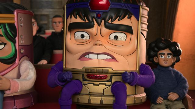 M.O.D.O.K. tears up and bites his lower lip