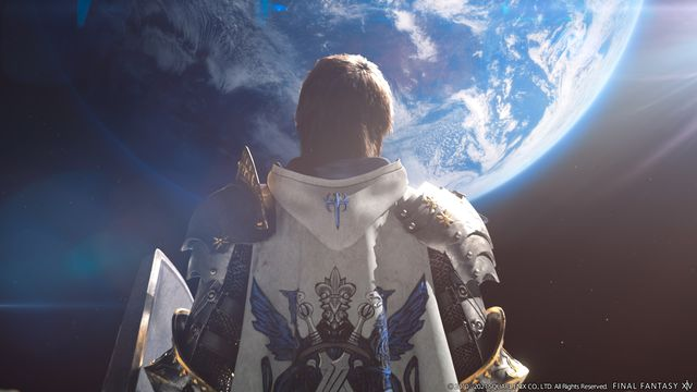 The Warrior of Light, as a Paladin, stands on the moon facing the earth