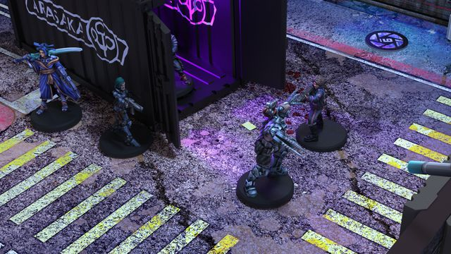 A gang of Tiger Claws leap from a shipping container. Black lights flood the area inside, and dingy street lamps illuminate the exterior.