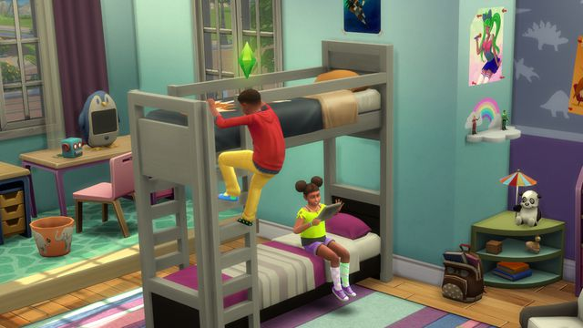 Two children sitting on a bunk bed in The Sims 4. One is climbing the ladder and the other is sitting on the bottom bunk with a tablet
