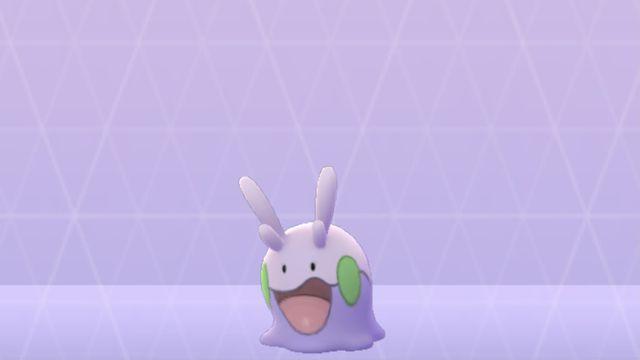A shot of Goomy in Pokémon Go