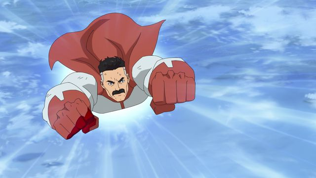 Omni-Man flies toward the camera with a grim look on his face in the Invincible TV series