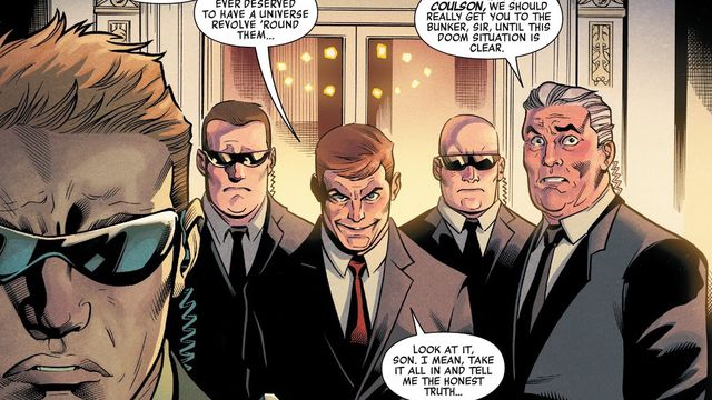 """""""Our Squadron,"""" President Phil Coulson says, surrounded by secret service in the White House, """"If anyone ever deserved to have a universe revolve 'round them..."""" in Heroes Reborn #1, Marvel Comics (2021)."""