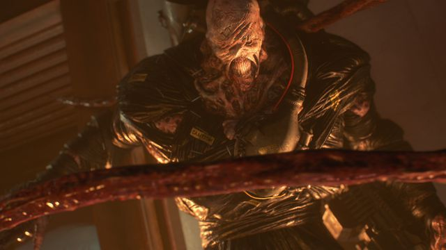 the Nemesis unfurls a tentacle in a screenshot from Capcom's Resident Evil 3 remake